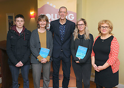 Historian and Author Diarmuid Ferriter discussing his latest publication 'On the Edge Ireland's Off Shore Islands' with Theo Cullen-Muze, Ciara Cullen, Saoirse O'Malley and Aine Ryan during the Rolling Sun Book festival event at The Clew Bay Hotel. Pic Conor McKeown