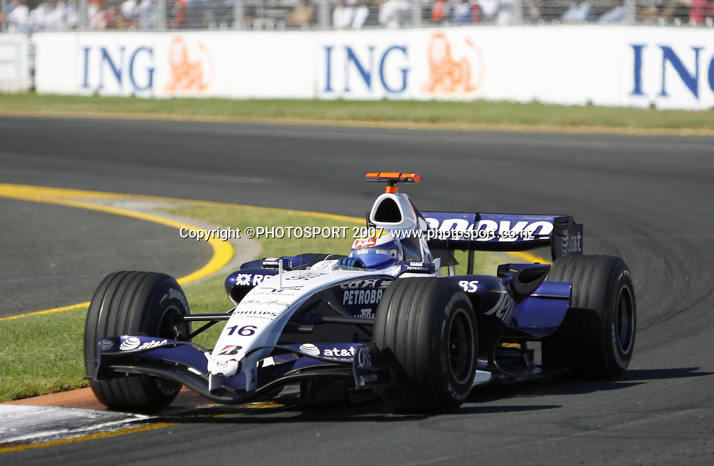 Nico Rosberg in action for  Williams during the Australian Formula 1 Grand Prix at Melbourne, Australia on Sunday 18 March 2007. Photo: Panoramic/PHOTOSPORT #NO AGENTS#<br /> <br /> <br /> 180307 *** Local Caption ***