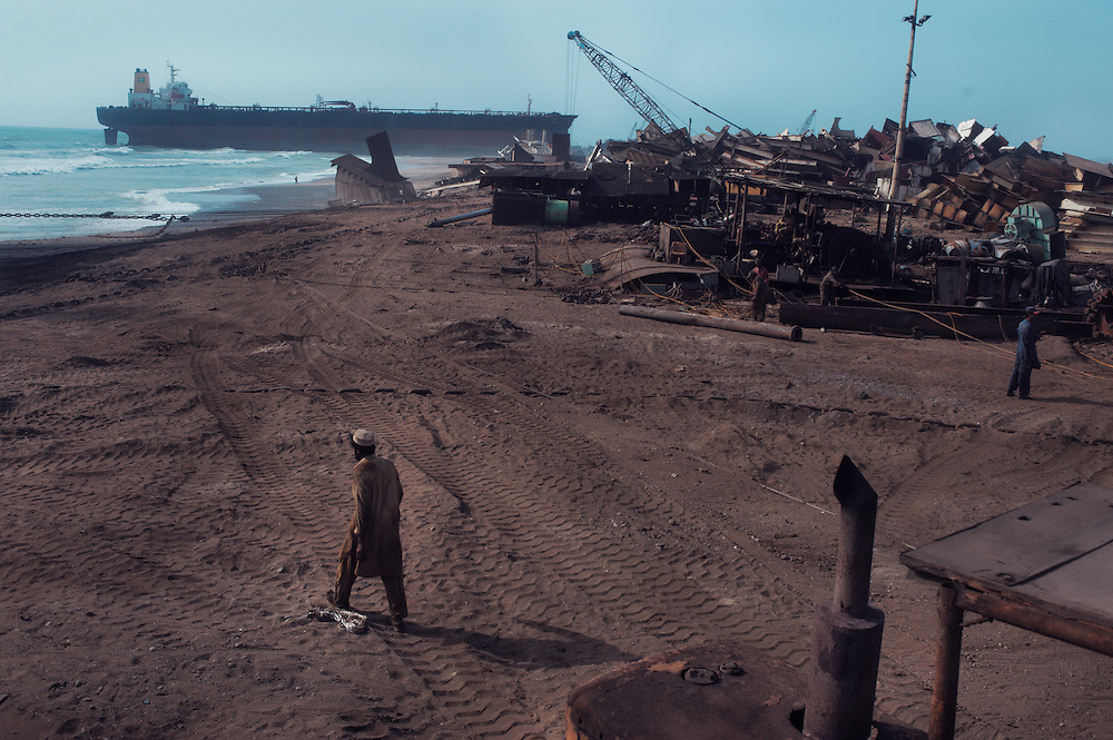 A view of the beach and demolition work at the Gadani ship breaking yard, Balochistan Province, Pakistan on August 16, 2011.