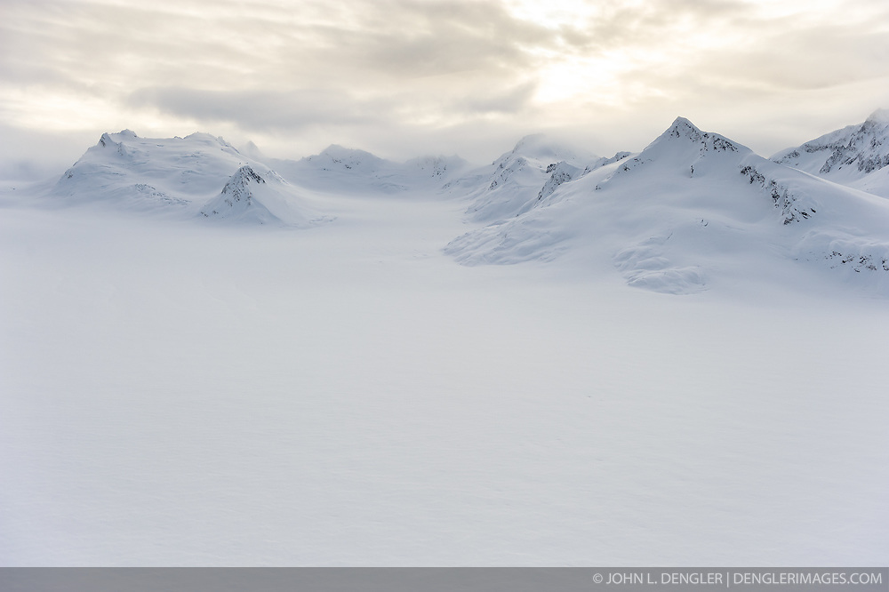 The upper snowfield of the Casement Glacier is seen in this aerial photo taken along the border of Glacier Bay National Park and Preserve near Mount Rice and the town of Haines in southeast Alaska.