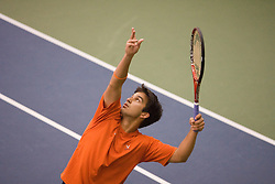#12 nationally ranked Trent Huey (Virginia) serves during the #1 doubles match.  The #1 nationally ranked men's doubles team of Somdev Devvarman and Trent Huey defeated #33 ranked Alex Cojanu/Keziel Juneau 8-6.    The #1 ranked Virginia Cavaliers men's tennis team faced the #43 ranked William and Mary Tribeat the Boyd Tinsley Courts at the Boars Head Inn in Charlottesville, VA on January 20, 2008.