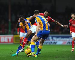 Jonathan Obika of Swindon Town competes with Gary Deegan of Shrewsbury Town- Mandatory by-line: Nizaam Jones/JMP - 07/01/2017 - FOOTBALL - County Ground - Swindon, England - Swindon Town v Shrewsbury Town - Sky Bet League One