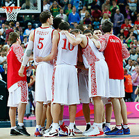 08 August 2012: Team Russia gathers following the 83-74 Team Russia victory over Team Lithuania, during the men's basketball quarter-finals, at the 02 Arena, in London, Great Britain.