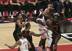 December 17, 2018 - Los Angeles, California, United States of America - Montrezl Harrell #5 of the Los Angeles Clippers tries to put up a shot during their NBA game with the Portland Trailblazers on Monday December 17, 2018 at the Staples Center in Los Angeles, California. Clippers lose to Trailblazers, 127-131. JAVIER ROJAS/PI (Credit Image: © Prensa Internacional via ZUMA Wire)