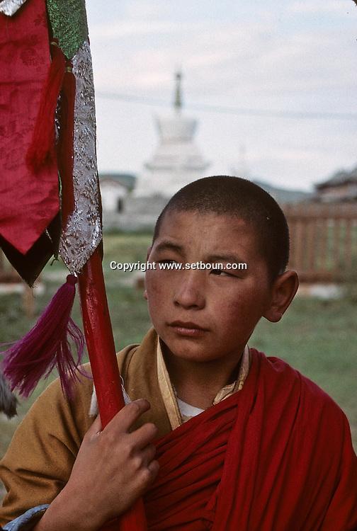 Mongolia. Erden Zuu monastery (Karakorum) Maidar procession; Buddhist ceremony. Erdeni Zuu (16th century) at Qaraqorin).  /  Procession boudhiste du Maidar.  (Monastère de Erdeni Zuu à Qaraqorin (Karakorum) Mongolie ), /  7       P0002527