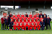 Lancashire County Cricket Club PhotoCall 2017 at Old Trafford, Manchester, England on 31 March 2017. Photo by Craig Galloway.<br /> <br /> Lancashire's squad in the T20 Blast Lancashire Lightning Red Kit.<br /> <br /> L-R: (Players only)<br /> Back Row - Jordan Clark, Daniel Lamb, Matthew Parkinson, Brooke Guest, Josh Bohannon, Rob Jones.<br /> Middle Row - Saqib Mahmood, Toby Lester, Jordan Clark, Tom Bailey, Liam Livingstone, Dane Vilas, Arron Lilley, Luke Procter.<br /> Front Row - Stephen Parry, Karl Brown, James Anderson, Steven Croft, Kyle Jarvis, Simon Kerrigan, Haseeb Hameed.