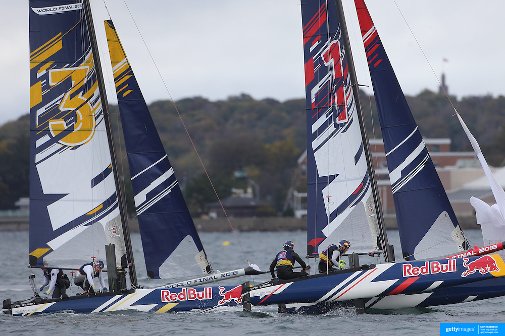 NEWPORT, RHODE ISLAND- OCTOBER 22:  The German team of Jasper Steffens and Tom Lennart Brauckmann, (left) and the Spanish team of Nil Das Romero and Jordi Llena Prats in action during the Red Bull Foiling Generation World Final 2016 on October 22, 2016 in Narragansett Bay, Newport, Rhode Island. (Photo by Tim Clayton/Corbis via Getty Images)