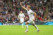 England's Harry Kane puts his team 1-0 up  during the UEFA European 2016 Qualifying match between England and Switzerland at Wembley Stadium, London, England on 8 September 2015. Photo by Shane Healey.