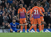 Football - 2016 / 2017 Premier League - Chelsea vs. Manchester City<br /> <br /> Diego Costa of Chelsea sits on the ground in an arm stretched plea to the referee at Stamford Bridge.<br /> <br /> COLORSPORT/DANIEL BEARHAM