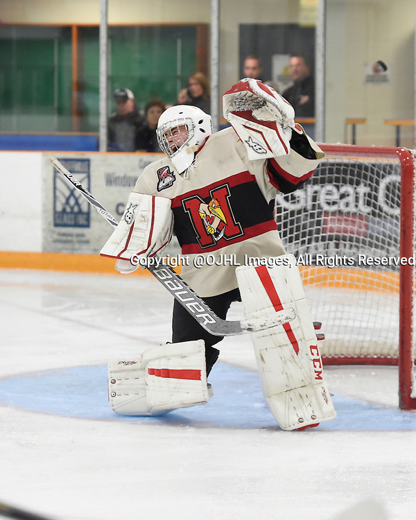 STOUFFVILLE, ON - Oct 12, 2015 : Ontario Junior Hockey League game action between Newmarket and Stouffville, Dalton Ewing #30 of the Newmarket Hurricanes protects the crease during the third period.<br /> (Photo by Andy Corneau / OJHL Images)