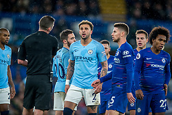 December 8, 2018 - London, Greater London, England - Referee Michael Oliver calls Kyle Walker of Manchester City and Jorginho of Chelsea during the Premier League match between Chelsea and Manchester City at Stamford Bridge, London, England on 8 December 2018. (Credit Image: © AFP7 via ZUMA Wire)