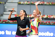 Caroline Garcia and Kristina Mladenovic during the Madrid Open at Manzanares Park Tennis Centre, Madrid<br /> Picture by EXPA Pictures/Focus Images Ltd 07814482222<br /> 07/05/2016<br /> ***UK & IRELAND ONLY***<br /> EXPA-ESP-160507-0021.jpg