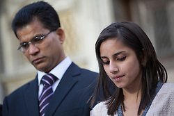 © licensed to London News Pictures. London, UK. 15/12/2012. The husband Ben Barboza (left) and daughter Lisha (right) of nurse Jacinta Saldanha talking to the media outside Westminster Cathedral in London after a memorial service with Keith Vaz (not pictured) held for Jacinta Saldanha who committed suicide. Photo credit: Tolga Akmen/LNP
