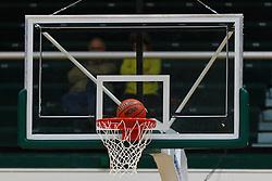 Nov 16, 2011; San Francisco CA, USA;  Detailed view of a NCAA basketball entering the hoop during overtime between the San Francisco Dons and the San Jose State Spartans at War Memorial Gym.  San Francisco defeated San Jose State 83-81 in overtime. Mandatory Credit: Jason O. Watson-US PRESSWIRE