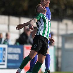 TELFORD COPYRIGHT MIKE SHERIDAN Ross White of Telford battles for a header with Tom Devitt of Blyth during the National League North fixture between Blyth Spartans and AFC Telford United at Croft Park on Saturday, September 28, 2019<br /> <br /> Picture credit: Mike Sheridan<br /> <br /> MS201920-023