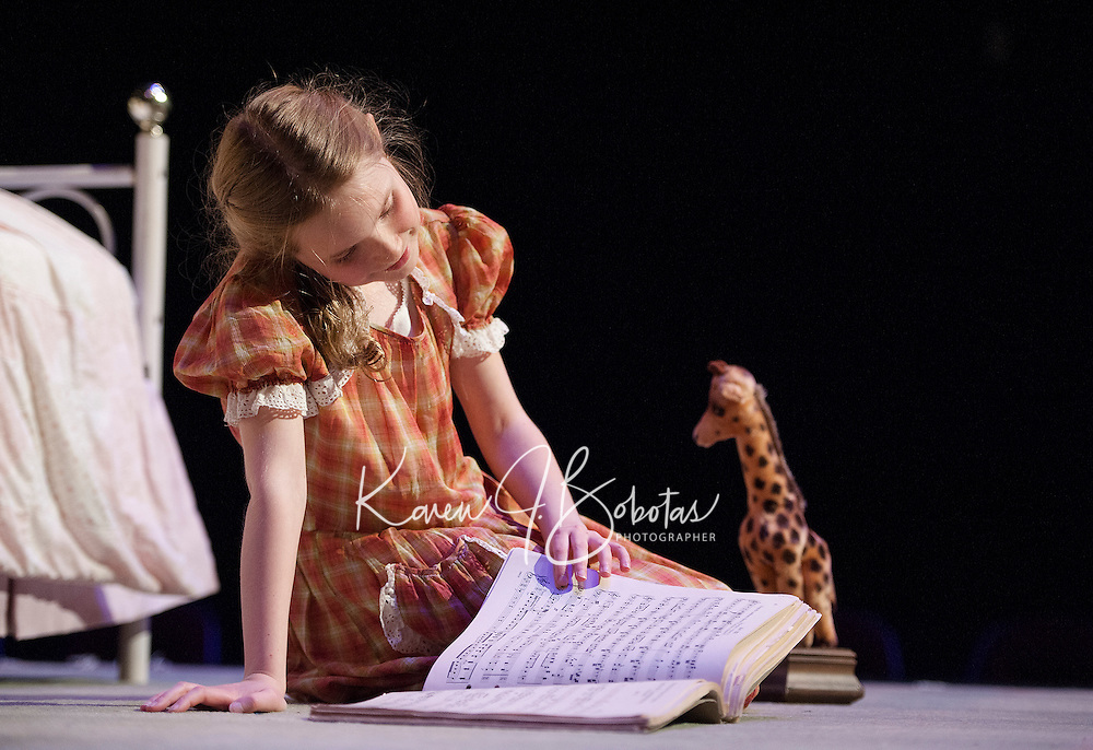 "The Little Girl (Janney Brook Halperin) during Act One - But The Giraffe during dress rehearsal for ""The Brundibar Project"" at the Winnipesaukee Playhouse Tuesday evening.  (Karen Bobotas/for the Laconia Daily Sun)"