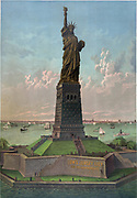 Liberty Enlightening the World:  Statue of Liberty in New York Harbour,  USA, dedicated on 28 October 1886. Gift from France to commemorate centenary of Declaration of Independence. Created by Frederic Bartholdi, French Sculptor