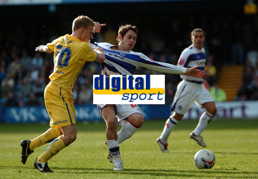 Photo: Tony Oudot.<br />Queens Park Rangers v Sheffield Wednesday. Coca Cola Championship. 10/03/2007.<br />Lee Cook of QPR is held back by Frank Simeck of Sheffield Wednesday