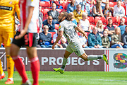 Marcus Harness (#19) of Portsmouth FC celebrates after scoring the opening goal during the EFL Sky Bet League 1 match between Sunderland and Portsmouth at the Stadium Of Light, Sunderland, England on 17 August 2019.