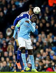 Yaya Toure of Manchester City wins a header - Mandatory byline: Matt McNulty/JMP - 15/03/2016 - FOOTBALL - Etihad Stadium - Manchester, England - Manchester City v Dynamo Kyiv - Champions League - Round of 16