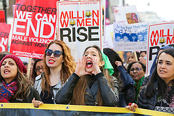 © Licensed to London News Pictures. 09/03/2019. London, UK. Thousands of women take part in the 11th anniversary of Million Women Rise against gender based violence in central London. This years theme is 'never forgotten', in solidarity with those women who have been subjected to violence and in memory of those who have been killed. Photo credit: Dinendra Haria/LNP