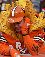 MORNING JOURNAL/DAVID RICHARD.Wearing his french fry costume, Bill Randall of Lousiville stares at the ground after a Charlie Frye fumble yesterday against the Steelers.