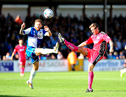 Bristol Rovers' Matty Taylor is challenged by Dover Athletic's Connor Essam - Photo mandatory by-line: Neil Brookman - Mobile: 07966 386802 - 04/10/2014 - SPORT - Football - Bristol - Memorial Stadium - Bristol Rovers v Dover - Vanarama Football Conference
