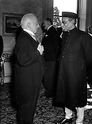 12/08/1952<br /> 08/12/1952<br /> 12 August 1952<br /> Mr B.G. Kher, Indian Ambassador to Ireland (right) presents his Credentials to President Sean T. O'Kelly at Aras an Uachtaran. Minister for External Affairs Frank Aiken can be seen between the President and the Ambassador.