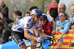European Champion Matteo Trentin (ITA) Mitchelton-Scott climbs the Paterberg for the last time during the 2019 Ronde Van Vlaanderen 270km from Antwerp to Oudenaarde, Belgium. 7th April 2019.<br /> Picture: Eoin Clarke | Cyclefile<br /> <br /> All photos usage must carry mandatory copyright credit (© Cyclefile | Eoin Clarke)