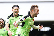 Wolverhampton Wanderers striker Andreas Weimann (63) celebrates his goal (score 0-2) during the EFL Sky Bet Championship match between Fulham and Wolverhampton Wanderers at Craven Cottage, London, England on 18 March 2017. Photo by Andy Walter.