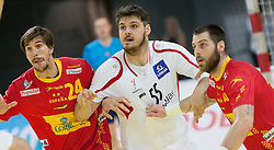 10.06.2015, Olympiahalle, Innsbruck, AUT, EHF Euro Qualifikation, Gruppe 7, Österreich vs Spanien, im Bild Viran Morros de Argila (ESP, l), Tobias Wagner (AUT, m) und Juan Del Arco Perez (ESP, r) // during the EHF Euro Qualifikation group 7 match between Austria and Spain at Olympiahalle, Innsbruck, Austria on 2015/06/10. EXPA Pictures © 2015, PhotoCredit: EXPA/ Jakob Gruber