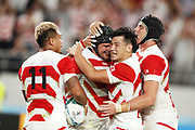 Pieter LABUSCHAGNE (JPN) celebrates during the Japan 2019 Rugby World Cup Pool A match between Japan and Russia at the Tokyo Stadium in Tokyo on September 20, 2019.