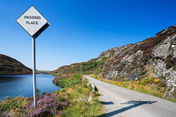 Remote highway B869 part of North Coast 500 tourist route, in Highland Region in summer, Scotland, United Kingdom