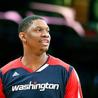 21 March 2014: Washington Wizards center Kevin Seraphin (13) warms up prior to the Washington Wizards 117-107 victory over the Los Angeles Lakers at the Staples Center, Los Angeles, California, USA.