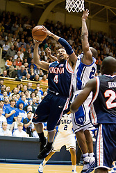 Virginia guard Calvin Baker (4) shoots over Duke guard DeMarcus Nelson (21).  The Duke Blue Devils hosted the Virginia Cavaliers in men's basketball at Cameron Indoor Stadium on the campus of Duke University in Durham, NC on January 13, 2008.