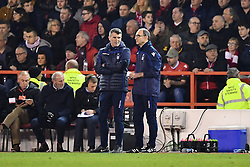 February 25, 2019 - Nottingham, England, United Kingdom - Nottingham Forest Manager Martin ONeill discusses tactics with Nottingham Forest Assistant Manager Roy Keane during the Sky Bet Championship match between Nottingham Forest and Derby County at the City Ground, Nottingham on Monday 25th February 2019. (Credit Image: © Mi News/NurPhoto via ZUMA Press)