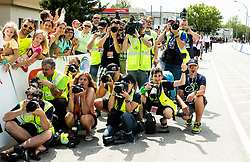 Photographers at finish line during 4th Stage of 26th Tour of Slovenia 2019 cycling race between Nova Gorica and Ajdovscina (153,9 km), on June 22, 2019 in Slovenia. Photo by Vid Ponikvar / Sportida