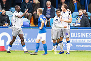 Colchester United forward Theo Robinson celebrates his goal to make it 1-1 during the EFL Sky Bet League 2 match between Macclesfield Town and Colchester United at Moss Rose, Macclesfield, United Kingdom on 28 September 2019.