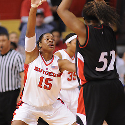 Feb 24, 2009; Piscataway, NJ, USA; Rutgers center Kia Vaughn (15) defends Cincinnati forward Michelle Jones (52) during the first half of Rutgers' 71-53 victory over Cincinnati at the Louis Brown Athletic Center.