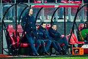 ALKMAAR - 21-01-2017, AZ - Sparta, AFAS Stadion, 1-1, AZ trainer John van den Brom, Frank Zaal, Joost van der Hoek.