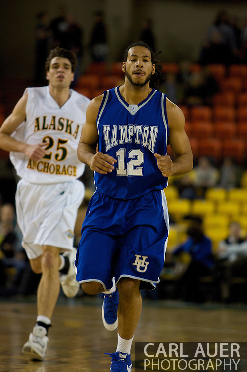 November 26, 2008: Hampton forward Theo Smalling (12) in the opening game of the 2008 Great Alaska Shootout at the Sullivan Arena against the University of Alaska-Anchorage Seawolves.
