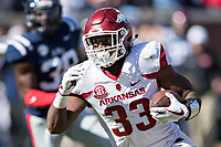 OXFORD, MS - OCTOBER 28:  David Williams #33 of the Arkansas Razorbacks runs the ball during a game against the Ole Miss Rebels at Hemingway Stadium on October 28, 2017 in Oxford, Mississippi.  The Razorbacks defeated the Rebels 38-37.  (Photo by Wesley Hitt/Getty Images) *** Local Caption *** David Williams