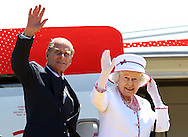 PERTH, AUSTRALIA - OCTOBER 29:  Queen Elizabeth II and Prince Philip, Duke of Edinburgh wave farewell to Australia at the Perth International Airport on October 29, 2011 in Perth, Australia. Queen Elizabeth II opened the 54-nation summit following a 9-day tour of Australia. The three-day biennial gathering is chaired by Australian Prime Minister, Julia Gillard and concludes on October 30.  (Photo by Paul Kane/Getty Images)