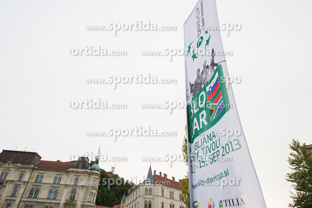 Girls walking through centre of Ljubljana for Davis cup Slovenia vs South Africa competition on September 12, 2013 in Ljubljana, Slovenia. (Photo by Vid Ponikvar / Sportida.com)