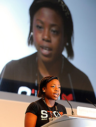 © Licensed to London News Pictures. 28/09/2011. LONDON, UK. Naresa Gordon talks about how her family have been affected by knife crime. The Labour Party Conference in Liverpool today (28/09/11). Photo credit:  Stephen Simpson/LNP
