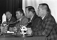 Apollo XIII Astronauts at a press conference, (L-R) Fred W Haise, James A Lovell and John A Swigert, 13/10/1970 (Part of the Independent Newspapers Ireland/NLI Collection).