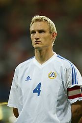 CARDIFF, WALES - Wednesday, September 10, 2003: Finland's captain Sami Hyypia lines up before the Euro 2004 qualifying match against Wales at the Millennium Stadium (Pic by David Rawcliffe/Propaganda)