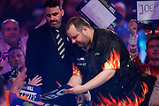 Ryan Joyce signs autographs before his walk-on during the World Darts Championships 2018 at Alexandra Palace, London, United Kingdom on 29 December 2018.