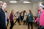 Students of Javier Ronquillo's math for elementary educators class line up in room 126 of Morton Hall on Friday, February 13 for a course in contradance. Contradance is a part of Appalachian culture that Ronquillo uses to show his students an innovative way to teach mathematics.