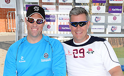 Somerset's Captain Marcus Trescothick and Lancashire's Head Coach Ashley Giles pose for a photo. - Photo mandatory by-line: Harry Trump/JMP - Mobile: 07966 386802 - 07/04/15 - SPORT - CRICKET - Pre Season - Somerset v Lancashire - Day 1 - The County Ground, Taunton, England.